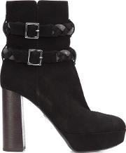 Braided Strap Boots Women Leathersuede 38, Black
