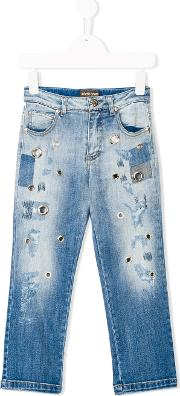Eyelet Detail Distressed Jeans
