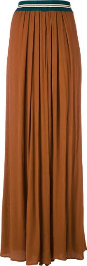 Flare Pleated Trousers Women Cottonpolyesterviscose S, Brown