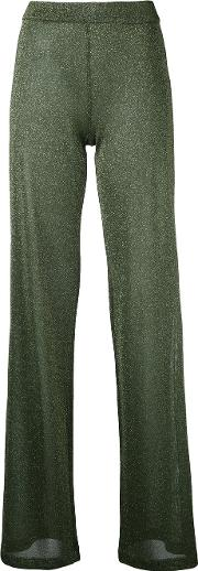 Lame Shiny Trousers Women Polyesterviscose L, Green
