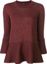 Roberto Collina Flared Hem Knitted Blouse Women Wool L, Red