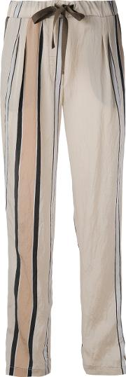Striped Details Straight Trousers Women Nylonacetate M, Nudeneutrals