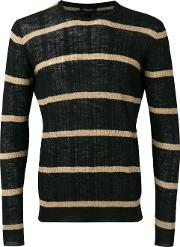 Striped Ribbed Sweater Men Cottonlinenflaxpolyester 46, Black