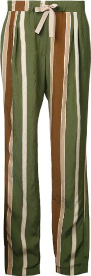 Striped Trousers Women Nylonacetate L, Green