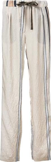 Striped Trousers Women Nylonacetate S, Women's, Nudeneutrals