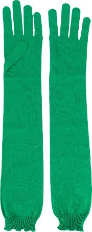 Elbow Length Gloves Women Silk One Size, Green