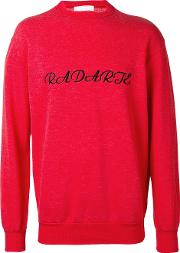 Rodarte Embroidered Oversized Sweater Unisex Cottonpolyester S, Red