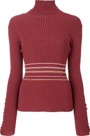 Frilled Striped Turtleneck Sweater