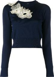 Nobuya Floral Applique Jumper Women Wool M, Blue