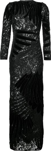 Feather Applique Gown Women Silkpolyestersequin 10, Black