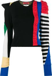 Patchwork Ruched Wool Sweater
