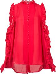 Ruffled Cut Out Blouse