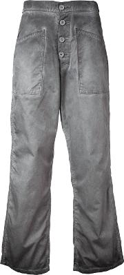 Cropped Flared Jeans Women Cotton 28, Grey