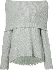 Off The Shoulder Oversized Sweater Women Cashmere L, Women's, Grey
