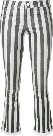 Rta Striped Cropped Trousers Women Cottonlamb Skinpolyesterspandexelastane 28, Black