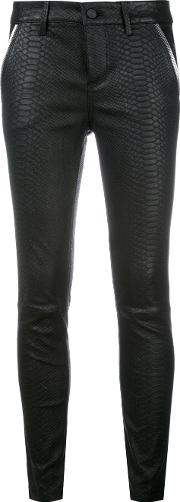 Snakeskin Effect Leather Trousers Women Lamb Skin 29, Black