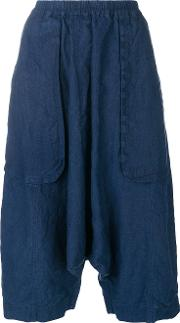 Cropped Drop Crotch Trousers