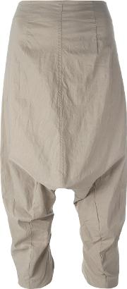 Dropped Crotch Cropped Trousers Women Cottonlinenflaxpolyamide S, Women's, Nudeneutrals