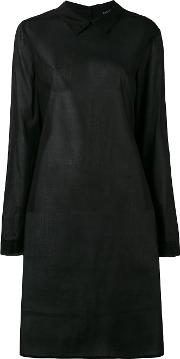 Semi Sheer Shirt Dress Women Cotton L, Black