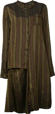 Striped Shirt Dress Women Cupro S, Women's, Brown