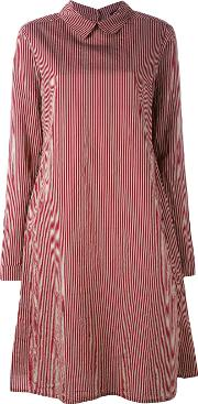 Striped Shirt Dress Women Silkcotton L, Red