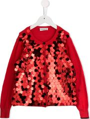 Sequinned Cardigan Kids Cotton 10 Yrs, Girl's, Red
