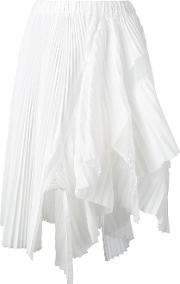 Asymmetric Micro Pleated Skirt Women Cottonpolyester 2, Women's, White