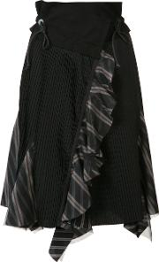 Asymmetric Pleated Skirt Women Cotton 2, Black