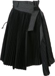 Asymmetric Pleated Skirt Women Cotton 3, Women's, Black