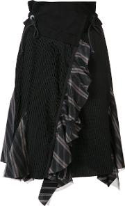 Asymmetric Pleated Skirt Women Cotton 4, Women's, Black