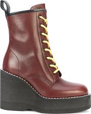 Chunky Wedge Heeled Boots Women Leatherrubber