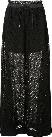 Drawstring Wide Leg Dot Lace Pant