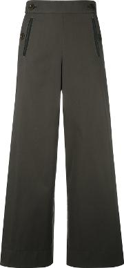 Pleated Insert Trousers Women Cottonpolyester 2, Green