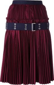 Plisse Pleated Skirt Women Cottonpolyester 4, Red