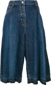 Sacai Denim Pleated Culottes Women Cotton 1, Blue