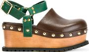 Studded Clog Sandals Women Leathermetal Other rubber 38, Brown