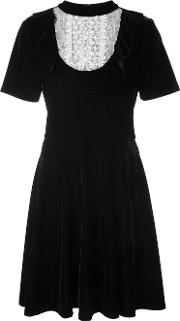 Krissa Ruffle Trim Velvet Dress