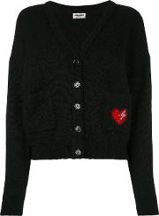 Heart Embroidered Patch Cardigan