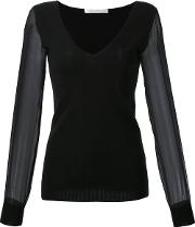 Cashmere V Neck Sheer Longsleeves Blouse Women Cashmere L, Black