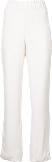 Sally Lapointe Wide Leg Trousers Women Silk 8, White