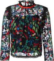 Embroidered Tulle Blouse Women Polyester 12, Black