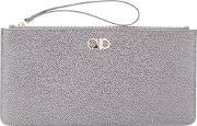 Loop Handle Clutch Women Calf Leather One Size, Grey