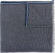 Patterned Striped Edge Scarf Men Cotton One Size, Blue