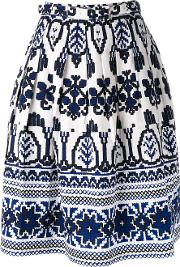 Flared Printed Skirt Women Cottonspandexelastane 2, White