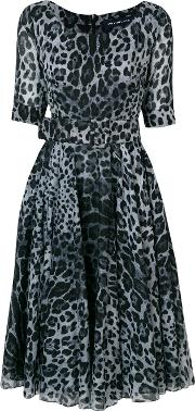 Leopard Print Flared Dress