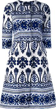 Printed Flared Dress Women Cottonspandexelastane 4, Blue