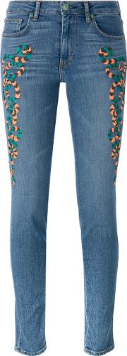 Embroidered Skinny Jeans Women Cotton 28, Blue