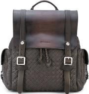 Woven Buckle Backpack Men Leather One Size, Brown