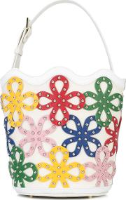 Floral Bucket Bag Women Calf Leatherbrass One Size, White