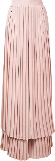 Pleated Layered Trousers Women Polyester 44, Pinkpurple